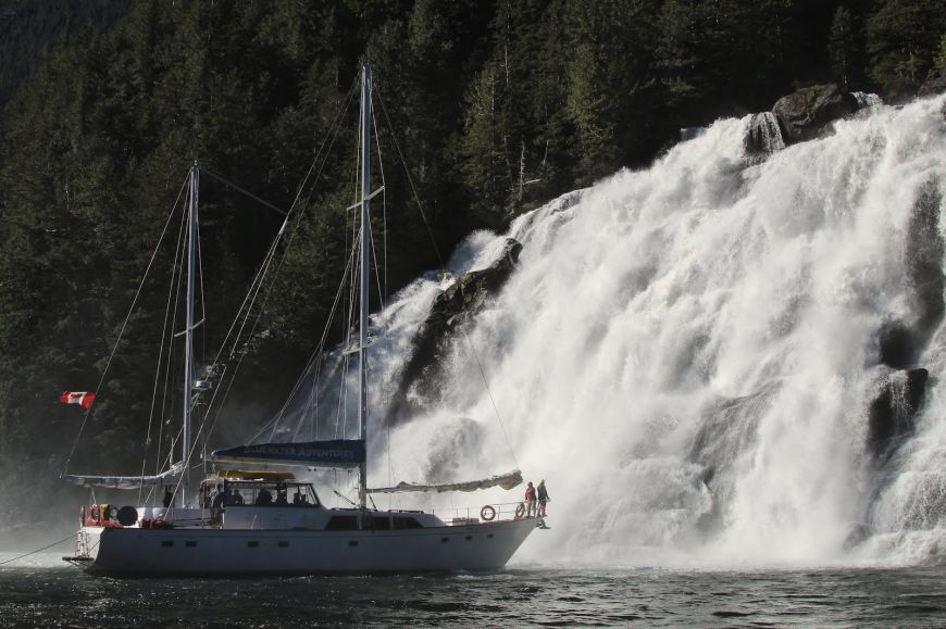 Island Roamer at one of the many waterfalls on BC's central coast Photo: Sherry Kirkvold