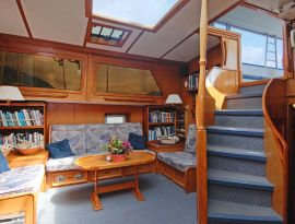 Yacht interior salon on the Island Roamer
